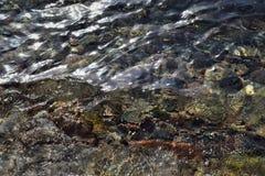 Μια φωτογραφία φωτεινών κυμάτων μιας των διαφανών θάλασσας του νερού και ενός αμμώδους κατώτατου σημείου Στοκ Εικόνα