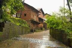 Μια χαρακτηριστική σκηνή του χωριού στη konkan περιοχή, της Ινδίας Στοκ φωτογραφία με δικαίωμα ελεύθερης χρήσης