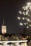 Μια χειμερινή νύχτα στη Ζυρίχη Στοκ εικόνα με δικαίωμα ελεύθερης χρήσης
