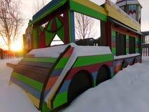 Μια χιονώδης χειμερινή παιδική χαρά στο Ουαϊόμινγκ στοκ φωτογραφία με δικαίωμα ελεύθερης χρήσης