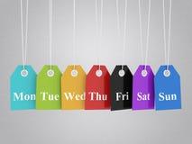Μια χρωματισμένες εβδομάδα κρεμώντας ετικέτες Στοκ Εικόνες