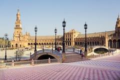 Μια όμορφη άποψη του ισπανικού τετραγώνου, Plaza de Espana, στη Σεβίλη Στοκ Εικόνες