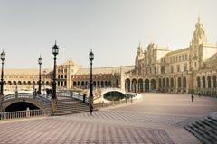 Μια όμορφη άποψη του ισπανικού τετραγώνου, Plaza de Espana, στη Σεβίλη Στοκ φωτογραφίες με δικαίωμα ελεύθερης χρήσης