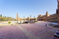 Μια όμορφη άποψη του ισπανικού τετραγώνου, Plaza de Espana, στη Σεβίλη Στοκ εικόνα με δικαίωμα ελεύθερης χρήσης