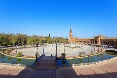 Μια όμορφη άποψη του ισπανικού τετραγώνου, Plaza de Espana, στη Σεβίλη Στοκ Φωτογραφία