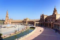 Μια όμορφη άποψη του ισπανικού τετραγώνου, Plaza de Espana, στη Σεβίλη Στοκ Φωτογραφίες