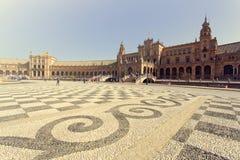 Μια όμορφη άποψη του ισπανικού τετραγώνου, Plaza de Espana, στη Σεβίλη Στοκ φωτογραφία με δικαίωμα ελεύθερης χρήσης