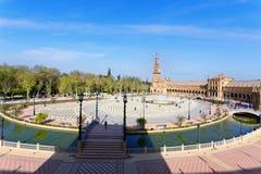 Μια όμορφη άποψη του ισπανικού τετραγώνου, Plaza de Espana, στη Σεβίλη Στοκ Εικόνα