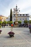 Μια όμορφη άποψη Plaza Virgen de Los Reyes στη Σεβίλη, Στοκ Εικόνα