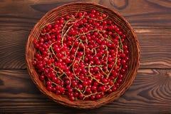 Μια όμορφη σύνθεση ενός ελαφριού ξύλινου καλαθιού με τη φρέσκια κόκκινη σταφίδα σε ένα ξύλινο υπόβαθρο Υγιή κόκκινα μούρα στο κιβ Στοκ Φωτογραφίες