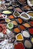 Μια colurful επιλογή των καρυκευμάτων, τα χορτάρια και τα καρύδια για την πώληση σε μια αγορά χρονοτριβούν στην ινδική αγορά σε O Στοκ Φωτογραφία