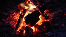 Μικρά εγκαύματα πυρών προσκόπων κάτω στους καυτούς άνθρακες απόθεμα βίντεο