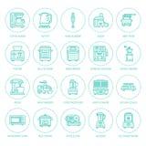 Μικρά εικονίδια γραμμών συσκευών κουζινών Σημάδια οικιακών μαγειρεύοντας εργαλείων Εξοπλισμός προετοιμασιών τροφίμων - μπλέντερ,  διανυσματική απεικόνιση