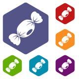 Μικρά εικονίδια καραμελών καθορισμένα hexagon απεικόνιση αποθεμάτων