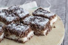 Μικρά κέικ lamington Στοκ εικόνες με δικαίωμα ελεύθερης χρήσης