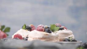 Μικρά κέικ pavlova απόθεμα βίντεο