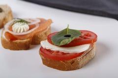 Μικρά καναπεδάκια με τον τόνο και την κάπαρη, ντομάτα και mozarella, σολομός και κρεμμύδια στοκ φωτογραφία