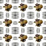 Μικρά κινούμενα σχέδια που φαίνονται αστείο χταπόδι με το άνευ ραφής σχέδιο δικράνων Στοκ Φωτογραφίες