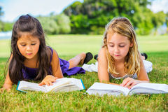 Μικρά κορίτσια που διαβάζουν τα βιβλία στη χλόη Στοκ Εικόνα