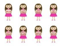 Μικρά κορίτσια που τίθενται στο χέρι του με τις διάφορες λέξεις και τις φράσεις Στοκ Εικόνες