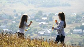 Μικρά κορίτσια που φυσούν τις φυσαλίδες σαπουνιών απόθεμα βίντεο