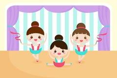 Μικρά κορίτσια σε μια απόδοση μπαλέτου διανυσματική απεικόνιση