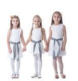 Μικρά κορίτσια στα ρόδινα φορέματα και τα στεφάνια γοητείας στοκ εικόνα