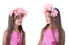 Μικρά κορίτσια φορέματα με τη γιρλάντα που απομονώνονται στα ρόδινα στοκ φωτογραφία