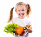 μικρά λαχανικά κοριτσιών Στοκ Φωτογραφίες