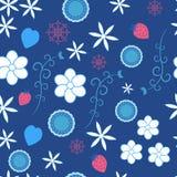 Μικρά λουλούδια και σχέδια στο μπλε υπόβαθρο ελεύθερη απεικόνιση δικαιώματος