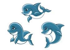 Μικρά μπλε δελφίνια κινούμενων σχεδίων Στοκ Φωτογραφία