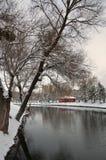 Μικρά πορτοκαλιά εξοχικό σπίτι και δέντρα κάτω από το χιόνι, στοκ εικόνες