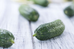 Μικρά πράσινα αγγούρια Στοκ Φωτογραφία