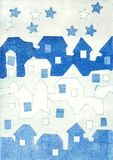Μικρά σπίτια σε ένα χωριό το βράδυ απεικόνιση στην κλασσική τεχνική εκτύπωσης ανακούφισης ελεύθερη απεικόνιση δικαιώματος