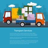Μικρά φορτηγό και φορτηγό με τα έπιπλα, ιπτάμενο ελεύθερη απεικόνιση δικαιώματος