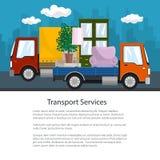 Μικρά φορτηγό και φορτηγό με τα έπιπλα, φυλλάδιο διανυσματική απεικόνιση