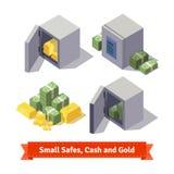 Μικρά χρηματοκιβώτια με τους χρυσούς φραγμούς και τα μετρητά διανυσματική απεικόνιση