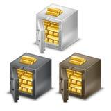 Μικρά χρηματοκιβώτια με τους χρυσούς φραγμούς, τα μετρητά και τα νομίσματα Ελεύθερη απεικόνιση δικαιώματος