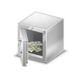 Μικρά χρηματοκιβώτια με τους χρυσούς φραγμούς, τα μετρητά και τα νομίσματα Διανυσματική απεικόνιση