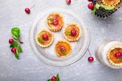 Μικρά tarts καραμέλας της Apple στο γκρίζο υπόβαθρο Γαλλικό tatin με το μήλο παραδείσου Τοπ όψη Στοκ εικόνα με δικαίωμα ελεύθερης χρήσης
