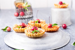 Μικρά tarts καραμέλας της Apple στο γκρίζο υπόβαθρο Γαλλικό tatin με το μήλο παραδείσου Στοκ Εικόνες