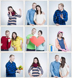 Μικρές εικόνες του ευτυχούς γάμου αγάπης που υπενθυμίζει στους παλαιούς χρόνους τη νεολαία και τις πρώτες ημερομηνίες Στοκ εικόνα με δικαίωμα ελεύθερης χρήσης