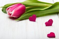 Μικρές καρδιές λουλουδιών τουλιπών στο άσπρο ξύλινο υπόβαθρο, Στοκ Εικόνες