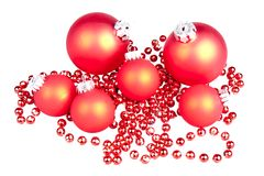 Μικρές κόκκινες σφαίρες σφαιρών Χριστουγέννων Στοκ Εικόνα