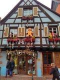 Μικρές πόλεις που διακοσμούνται για τα Χριστούγεννα Στρασβούργο - Αλσατία, Γαλλία Στοκ φωτογραφία με δικαίωμα ελεύθερης χρήσης