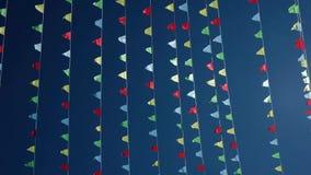 Μικρές τριγωνικές κυματίζοντας σημαίες απόθεμα βίντεο