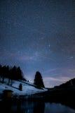 Μικρή λίμνη με τις αντανακλάσεις αστεριών ένα χιόνι Στοκ Εικόνες