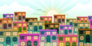 Μικρή αστική περιοχή με τα σπίτια στην αυγή ελεύθερη απεικόνιση δικαιώματος