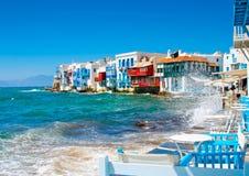 Μικρή Βενετία στο νησί Ελλάδα της Μυκόνου Στοκ Εικόνες
