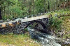 Μικρή γέφυρα πετρών πέρα από ένα rivulet σε Skipavag, Νορβηγία Στοκ εικόνα με δικαίωμα ελεύθερης χρήσης